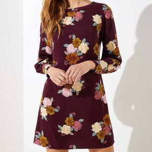 NWT Ann Taylor Loft Burgundy Floral Shift Dress